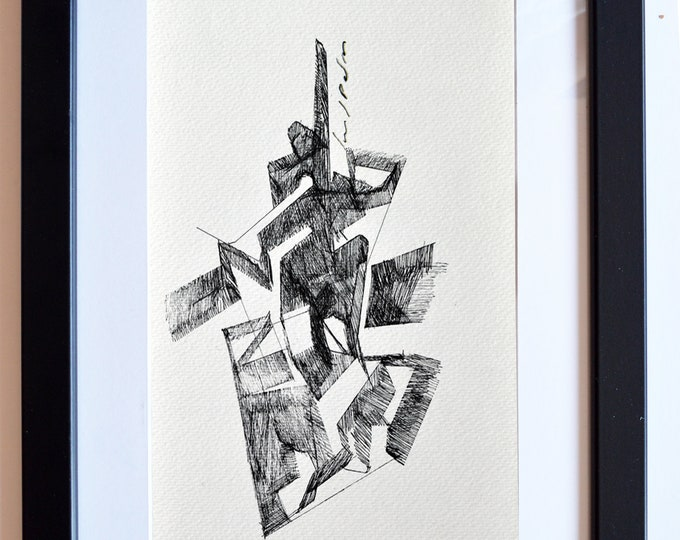 ALISTROE, Original Sculptural Series, Architectural Abstraction Geometrical Pen Freehand Sketch, framed.