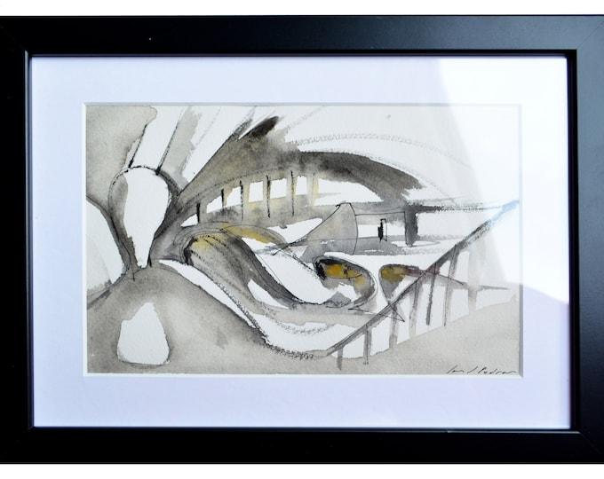 COSMOShift, Original Abstract Architectural Sketch, Interior building, framed handrawing + Watercolor Art