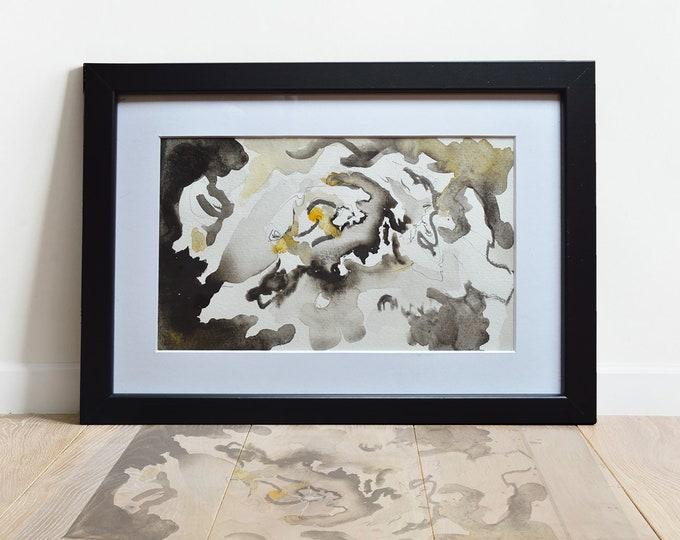 ALYSUMS, Original Marine Fluid Landscapes, Abstration, Handmade watercolor, framed.