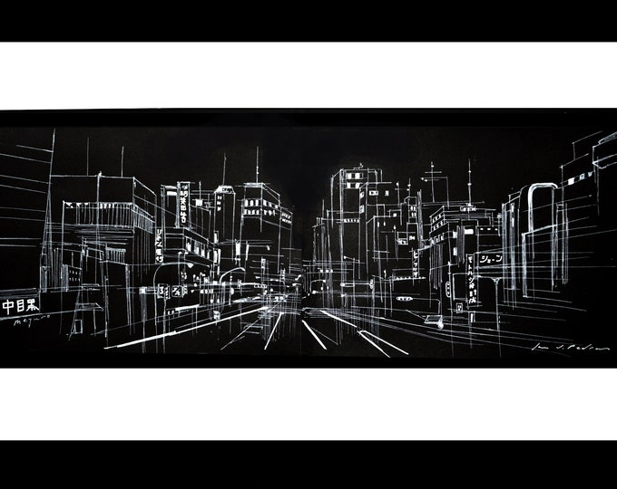 NAKAMEGURO, Tokyo Cityscape, Free Handrawing Ink, Architectural Japanese Urban view, 15.55 x 11.1 inch.