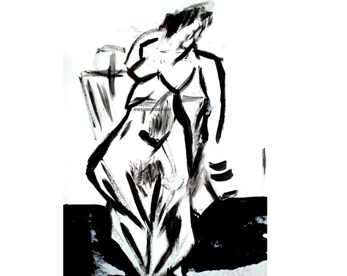 Untitled. WOMENSDAY DiaDaMuller Original Handrawing Sculptural Sketch Black& White