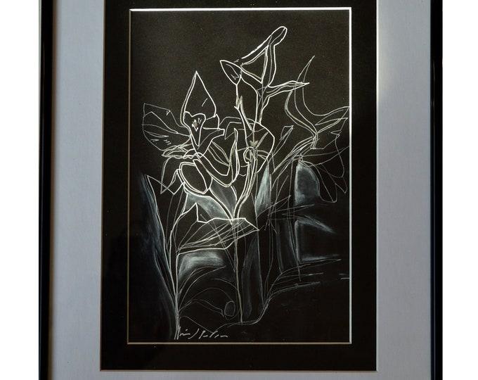 CYCLAMEN. Art Nouveau Flowers ,Handrawing Pen Ink,Black & White Framed Art,Sketch Geometrical Watercolor Nature.