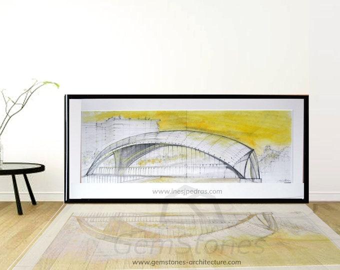 PUENTE-CASCARA. Original Bridge handrawing, Madrid, Spain, Handrawing Pen Ink, Architectural Sketch.Framed