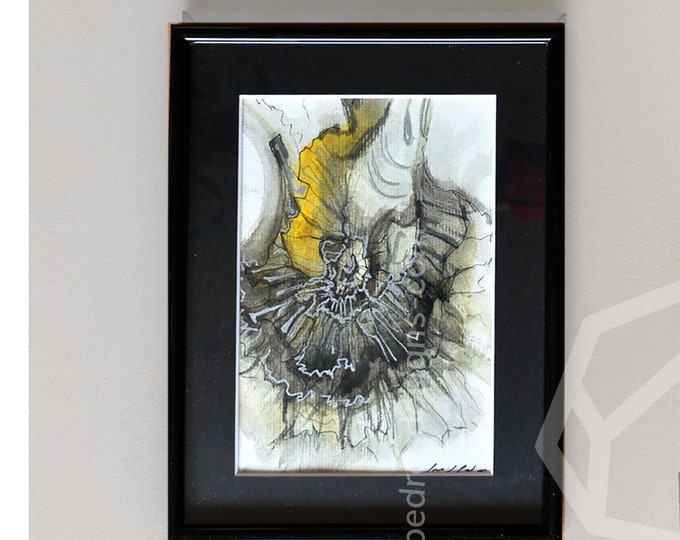 CHRYSAM, Original Marine Fluid Landscapes, Abstration, Handmade watercolor, Framed.