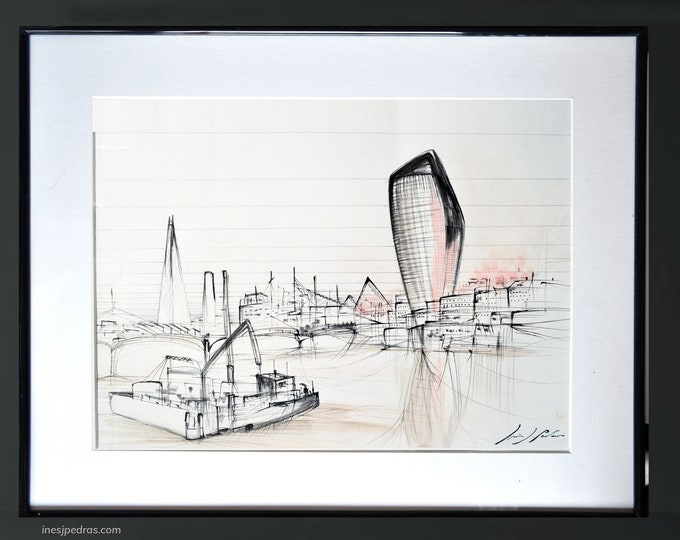 THAMES-2,Original London Architectural Pen Handrawing, Ink Cityscape, White version painting - Framed 40 x 50 cm
