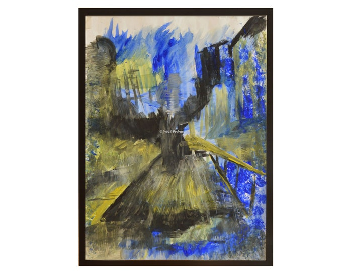 ARQUILEGIA. Blue Forest connecting materials,Original Handmade ,Abstract Art