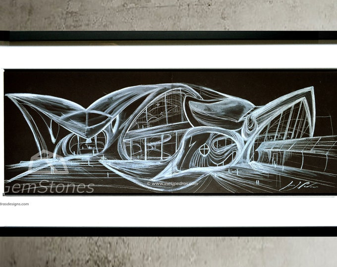 BLACKTWA-2, Original US, Architectural Pen Handrawing, Ink Cityscape, Black Abstraction building painting - Framed.