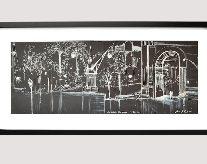 ARCTRIUNF. Original Barcelona Triumphal arch, Catalonia, Spain, Handrawing Pen Ink, Architectural Sketch.Framed
