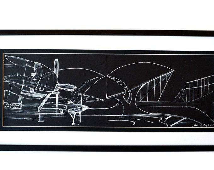 AIRUM- JFK.US.,Original Airport, Handrawing, Architectural-Aerodinamic Sketch, Framed