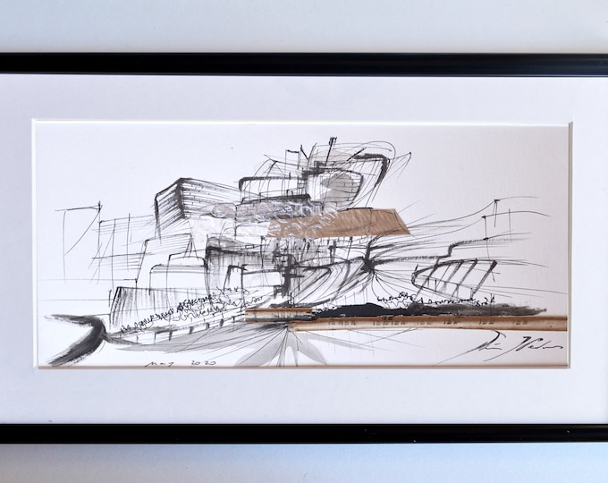 EXPLOMATERIAL, Original, Small Collage, Architectural Abstraction,museum sketch,recicled materials framed.