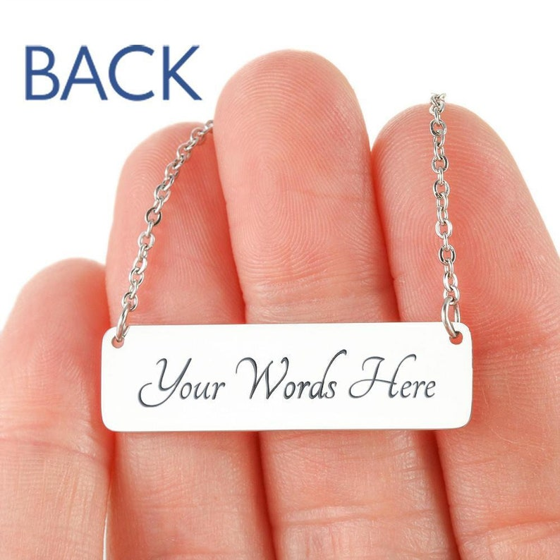 Engraved Horizontal Bar Necklace Personalized Custom Bar Necklace Engraved Gold Bar Name Necklace Birthday Gift For Her Initial Necklace