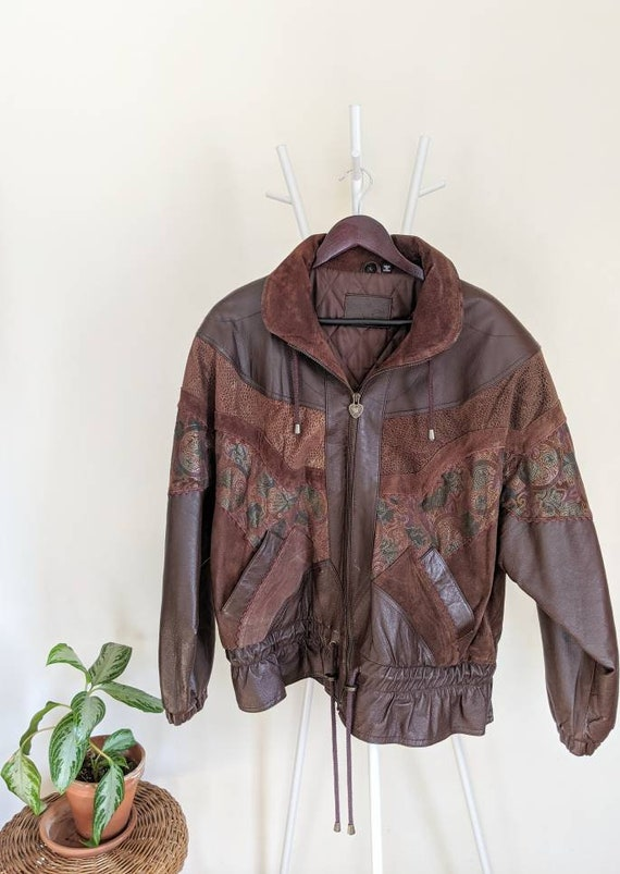 Vintage Print Leather Bomber Jacket - 1980s - Hunt