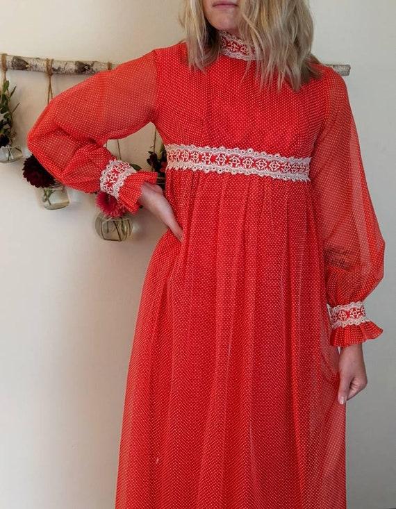 Vintage Red Empire Waist Edwardian Dress - 1970s