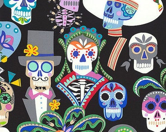 """ALEXANDER HENRY /""""CALAVERAS/"""" Black with Gold Glitter by the 1//2 yard"""