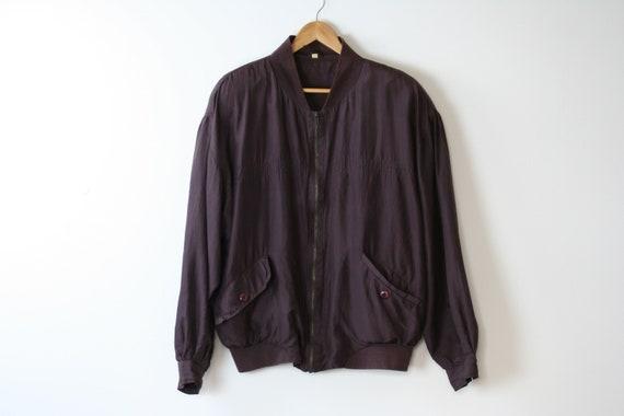 90s silk bomber jacket/oversized/unisex/brown bur… - image 5