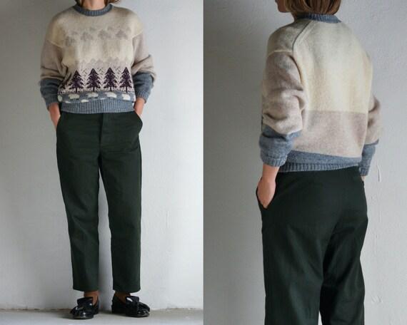 vintage novelty wool sweater S M/Scandinavian swea