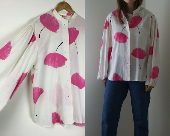 Gauze Cotton Blouse Victorian Sleeve Stand Collar… - image 1