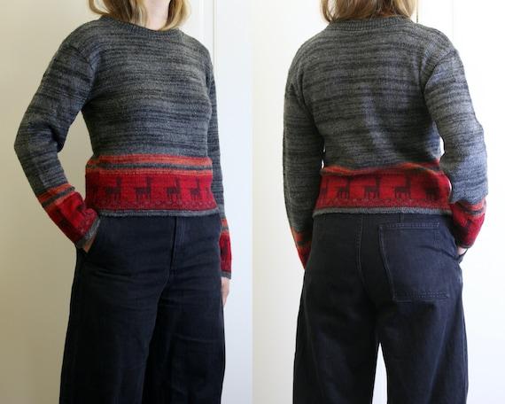 novelty cropped sweater vintage/women/gray wool sw