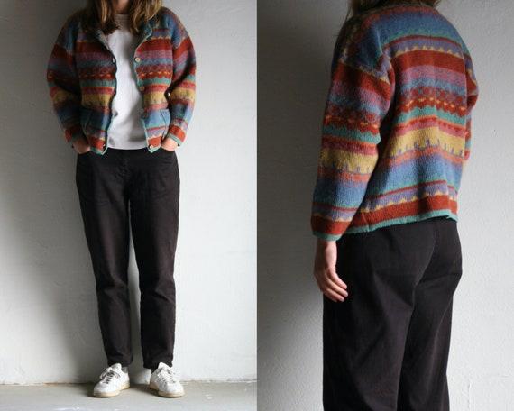 vintage cropped cardigan Icelandic wool/90s cardig