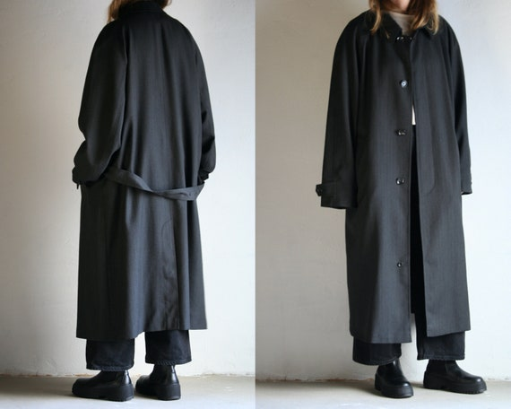 oversized wool trench coat unisex/vintage gray rai