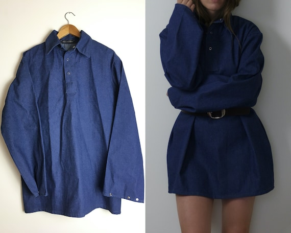 vintage denim workwear shirt unisex  / oversized d