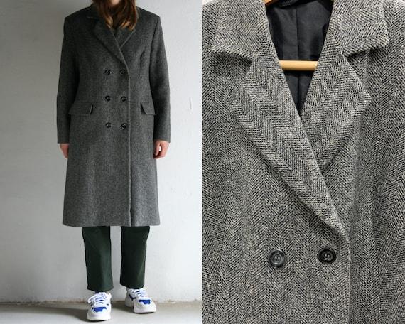 double-breasted chevron coat women vintage/gray wo
