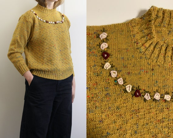 yellow embroidered sweater wool/women/vintage