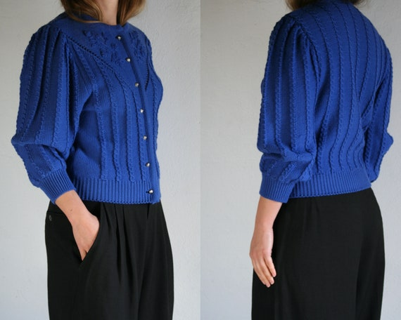 vintage puff sleeve cardigan wool/women/royal blue