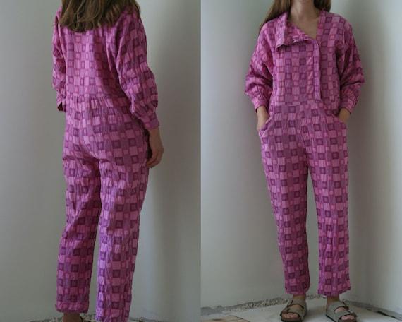 vintage 80s cotton jumpsuit/pink summer overalls v