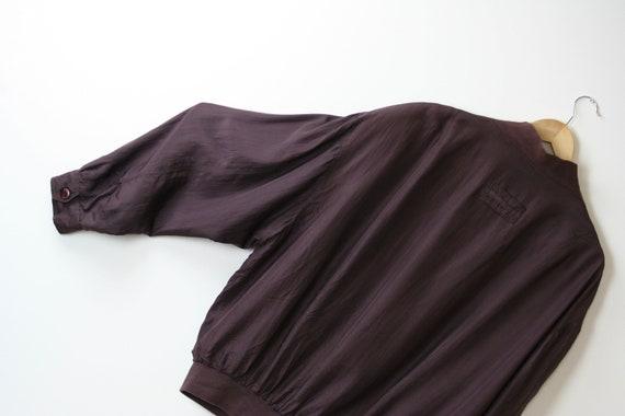 90s silk bomber jacket/oversized/unisex/brown bur… - image 6