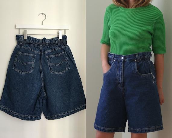 80s elastic waist denim shorts/vintage high-waiste
