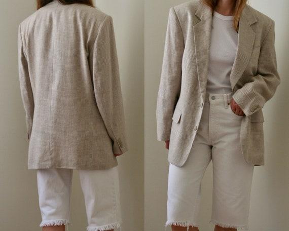 Vintage Beige Linen Blazer Slim Fit Unisex/oversiz