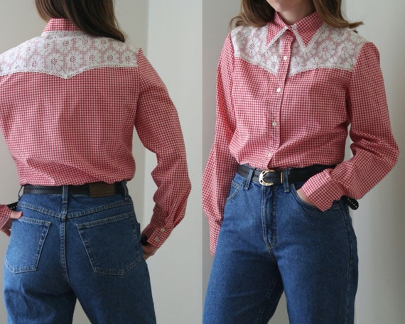 70s Vichy Statement Collar Blouse/Lace Collar/Cowg