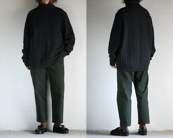 vintage turtleneck sweater wool/oversized/cable kn