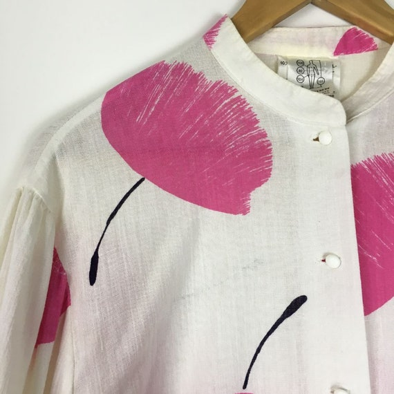Gauze Cotton Blouse Victorian Sleeve Stand Collar… - image 7