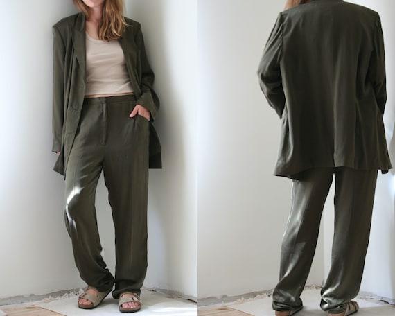 vintage oversized silk suit/green pants suit/women