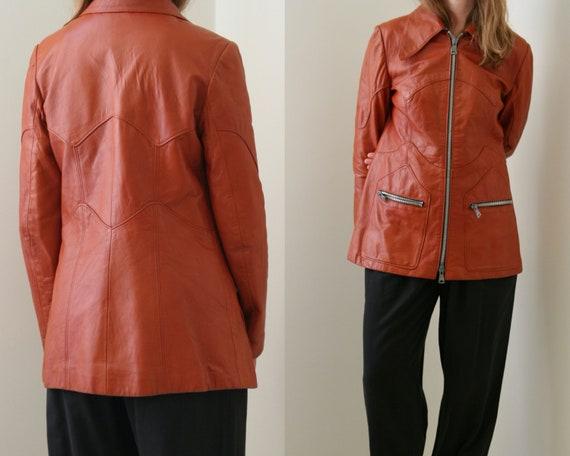 70s leather jacket women/vintage orange leather ja