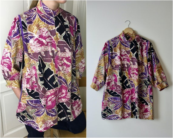 80s puff sleeve blouse cotton abstract floral prin