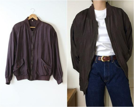 90s silk bomber jacket/oversized/unisex/brown burg