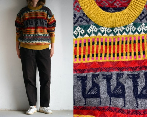 vintage novelty wool sweater unisex/yellow hunting