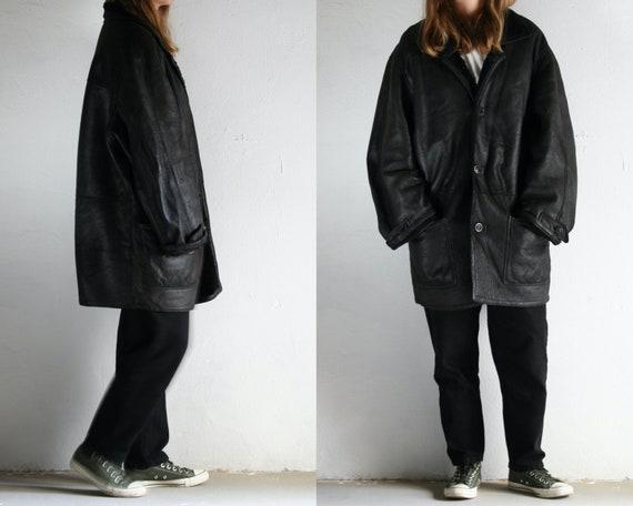 90s oversized shearling coat black/unisex sheepski