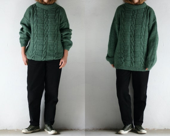 vintage cable knit sweater oversized unisex/green