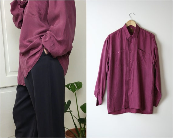 90s silk shirt oversized unisex raspberry red vint
