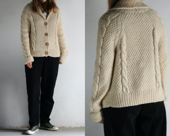 cable knit cropped cardigan wool/white/women/vinta