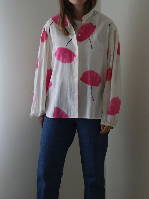 Gauze Cotton Blouse Victorian Sleeve Stand Collar… - image 2