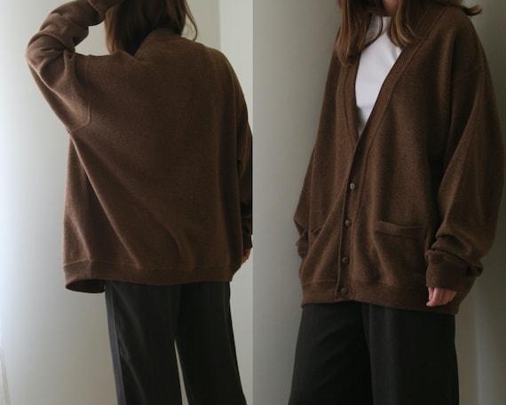 vintage cardigan wool oversized / brown beige vint
