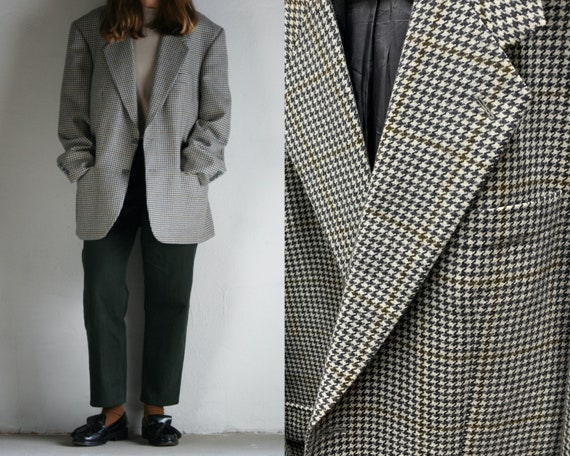 vintage checkered wool blazer oversized/pied de po