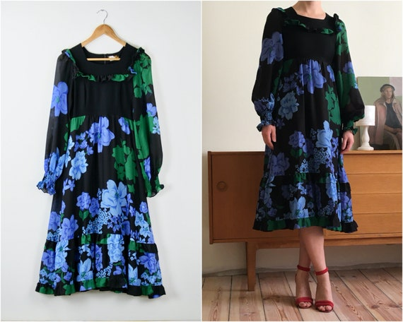 vintage floral puff sleeves dress with ruffles / c