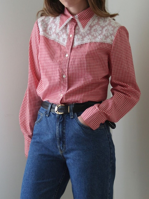 70s Vichy Statement Collar Blouse/Lace Collar/Cow… - image 3