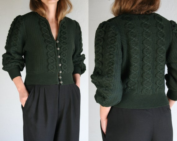 vintage puff sleeve cardigan wool/cable knit/women